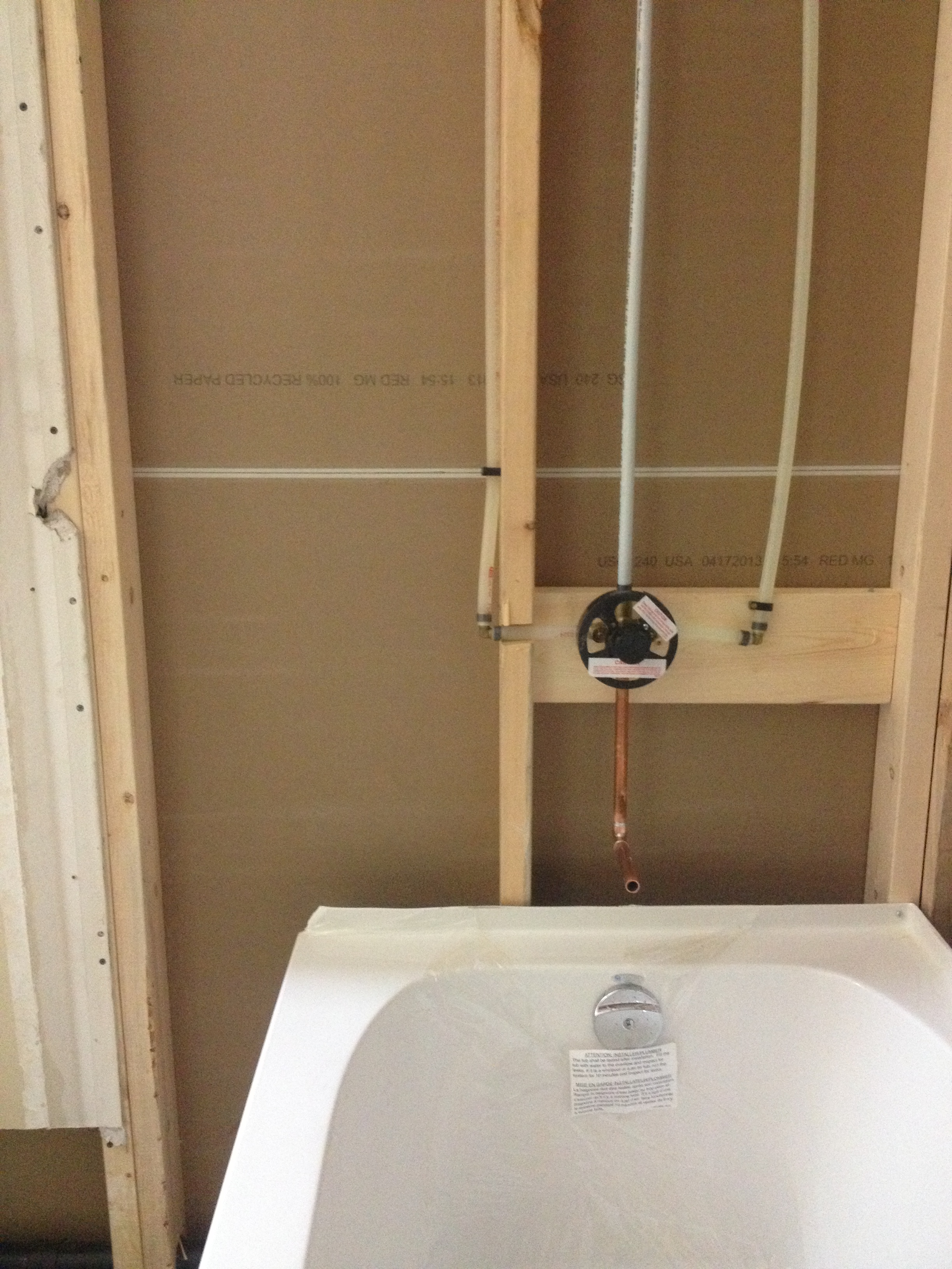 New installation of bathtub and shower valve - Callaway Plumbing and ...